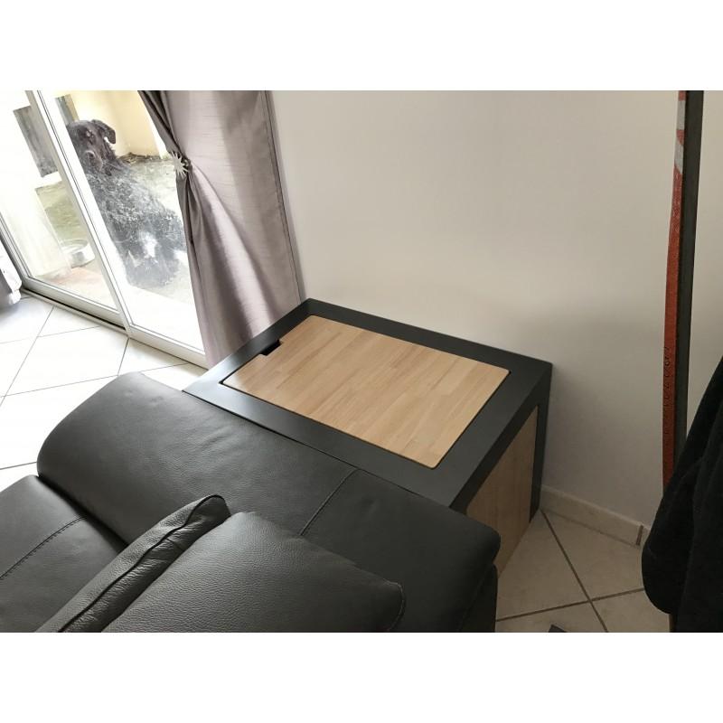 Table basse coffre bois et fer for Table basse coffre bois